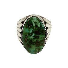 Zuni Handmade Sterling Silver Sonoran Gold Turquoise Ring Size 11- Robert Leekya