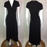 $168 Michael Kors Women's 4 Black Jersey Stretchy High Low Maxi Wrap Dress Small