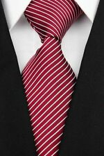 Dark Red Hand Woven 100% Pure Silk Neck Tie With Narrow White Diagonal Stripes