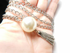 Grande Descuento Perla Sintética Cadena Borla Metal Tono Plateado Collar Vintage
