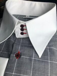 MorCouture Glen Plaid High Collar Shirt