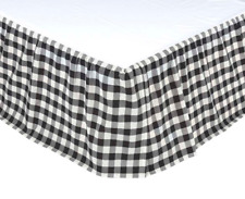 BLACK BUFFALO CHECK King BEDSKIRT : COUNTRY COTTAGE ANNIE PLAID DUST RUFFLE
