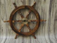 "18""Nautical Wooden Ship Steering Wheel Pirate Decor Wood Brass Wall Boat DECOR"