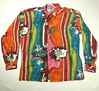 NEW Vintage Jams World Button Down Shirt Mens L Orange Hawaiian Shirt Floral
