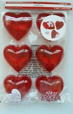 Valentine's Day Heart Containers. 6 Sets, 6 gift tags, 6 Strings