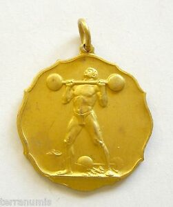 h095 Romania 1930's Weight Lifting Championship Sports naked man Medal gilt