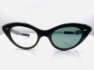 Vintage Black Gold Metallic Oval Cat-Eye Sunglasses France FRAMES ONLY