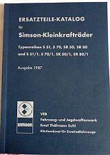 Ersatzteilkatalog SIMSON S 51 70 Mokick SIMME SR 50 80 & /1 Roller IFA DDR Stil