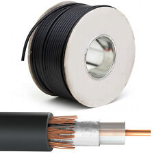 100M Black RG6 Coaxial Cable - Copper - Aerial Satellite Freeview Wire Reel Drum