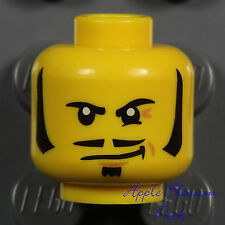 NEW Lego Pirate MINIFIG HEAD w/Black Beard & Moustache - Kingdoms/Castle/CowBoy