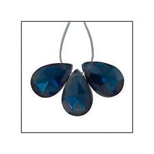 6 Cubic Zirconia Flat Pear Briolette Beads 6x9mm Dark London Blue #64943