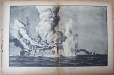 """Gravure de Cecil King, vers 1930 Le combat du """"Sydney"""" et de l'""""Emden"""" 1914"""