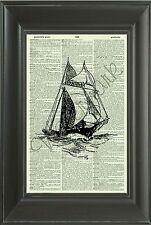 ORIGINAL Sloop Vintage Dictionary Art Print - Ship Art Print - Boat 300D
