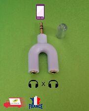 Adaptateur avec fiche Jack 3,5mm stéréo male, 2x fiche jack 3,5mm stéréo femele