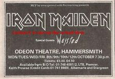 IRON MAIDEN UK TIMELINE Advert - Hammersmith  8/9/10/12-Oct-1984  2X3 inches