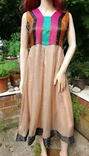 Handmade Unique FAIRTRADE Sari Silk Patchworked Hippy Boho Festival Dress M 12