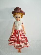 """Vintage 19"""" High Heel Fashion Doll in Red & White Striped Skirt 14R Mark"""
