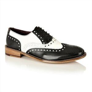 London Brogues Black White Brogue Shoes Mens Vintage Spats 7 8 9 10 11 12