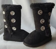 Baby Girls shoes Size 5/6 Black Bling Faux Fur Lined Casual Boots A4