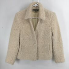 Peruvian Link Cream Ivory Curly Alpaca One Button Jacket Womens Size Small