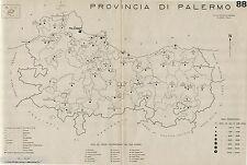 Provincia Palermo:Comuni nel 1938,Ustica.Carta Topografica.Anno XVI Era Fascista