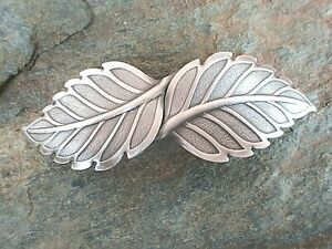 Wide  Leaf Antiqued Silver Plated French Clip Hair Barrette  made in USA 6030S