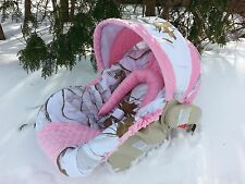 Camo Infant Car Seat Cover, RealTree Snow fabric and Pink Minky