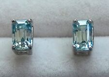 6x4mm Natural Aqua Earrings / Octagon Faceted/ 925 Sterling Settings