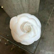 CHANEL VE VTG White Silk Organza Camelia Flower Brooch Pin Corsage Medium