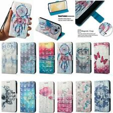 Smart Phones 3D PU Leather Flip Wallet Stand Slots Case Cover For SONY HUAWEI