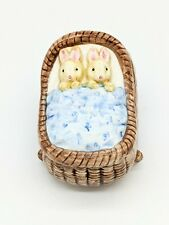Vintage Oci Fitz and Floyd Bunnies Rbbits in Basket Bed Trinket Box