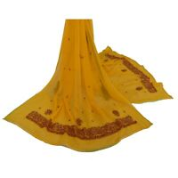 Sanskriti Vintage Dupatta Long Stole Georgette Yellow Shawl Hand Beaded Scarves
