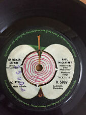 "THE BEATLES PAUL MCCARTNEY OH WOMAN O WHY/ANOTHER DAY ""RARE"" SINGLE 45 INDIA VG+"