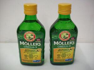 2 x Flaschen Möller's Omega-3 - Lebertran - mit Zitronengeschmack-(2 x 250 ml.)