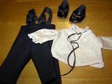 *Alte Puppenkleidung für antike kleine Puppen* schwarze Wollhose,Bluse, Schuhe *