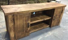 RUSTIC SOLID WOODEN TV UNIT WITH CUPBOARDS - MADE TO MEASURE