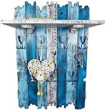 Handmade Echtholz XXL Garderobe im Shabby Chic Used Look 7 Haken blau weiß