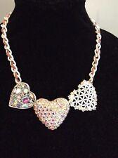 Betsey Johnson Rhinestone Large White  Hearts  Floral Statement Necklace $68 (5)