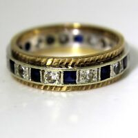 Vintage Princess Sapphire 9ct Yellow & White Gold Full Eternity ring L ~ 5 3/4