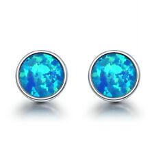European Style 925 Sterling Silver Blue Fire Opal Round Stud Earrings for Women