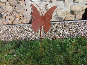 Vogel o Gartenstecker Blume Schmetterling Gartendeko Garten Zilio Metall 100cm
