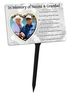 Personalised Memorial Plaque & Stake Your Photo. Heart, family garden grave
