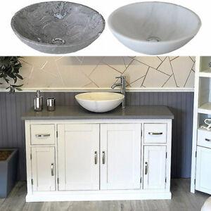 Bathroom Single Vanity Off White Painted Cabinet Grey Quartz Marble Basin 402P