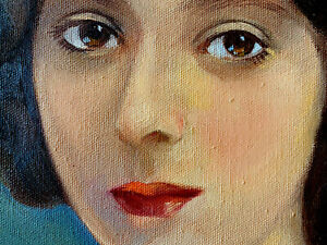 Original Antique Oil Painting Woman's Portrait Signed Framed Vintage Nurse? Paul