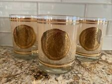Vintage Mid-Century Georges Briard Set of 3 Lowball Glasses - Roman Coin Pattern