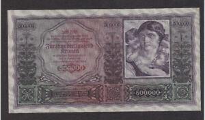 500 000 KRONE FINE CRISPY BANKNOTE FROM AUSTRIA 1922  PICK-84 EXTRA RARE