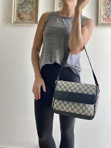 Authentic Vintage GUCCI Blue Monogram GG purse Shoulder BAG Flap Bag