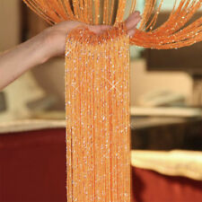 String Curtains Patio Net Fringe for Door Tassel Fly Screen Windows Divider Wniu 1pc Orange 100cm X 200cm