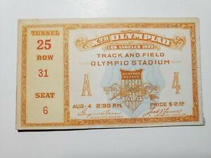 Orig 1932 Xth Olympics Ticket Track & Field Olympic Stadium Los Angeles A4 NR