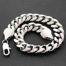 "11mm CURB Link 9"" 14K WHITE GOLD GL & RHODIUM Solid CHAIN Bracelet 